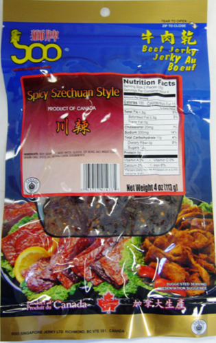 Soo Asian Jerky 4oz- Spicy Szechuan Beef